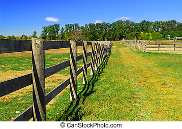 Rural landscape - Wooden farm fence and road in rural...