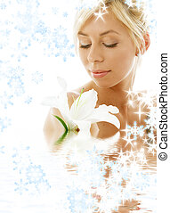 lily blond in water with snowflakes