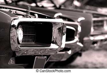 American Muscle Cars - Close up shot of muscle cars that are...