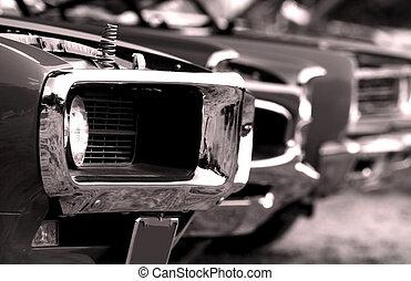 americano, músculo, carros