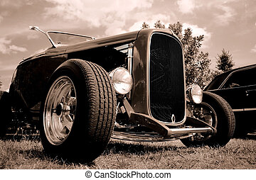 Classic Car - Wide angle view of classic car in black and...