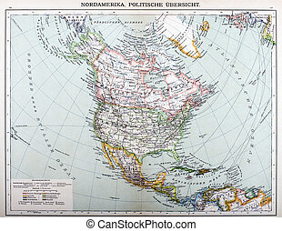 map - Old political Map of North America close up