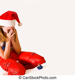 Crying faerie with broken christmas decoration - Portrait of...