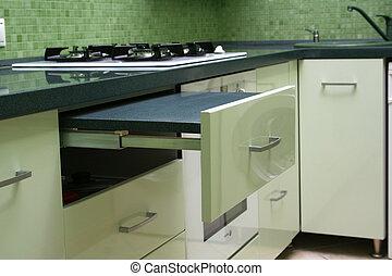 Green kitchen - Interior of green kitchen element