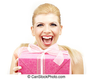 lucky blond with big pink gift box over white