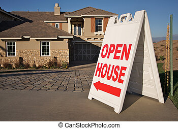 Open House Sign & New Home - Open House Sign in Front of A...