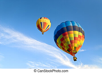 hot air balloons and clouds - colorful hot air balloons...