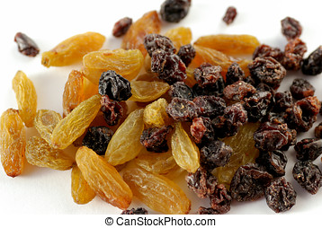 Raisins and currants - Macro of raisins and currants on...