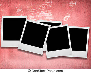 blank photo frames - group of blank photo frames against...