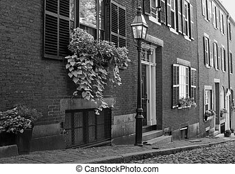 boston street - classic boston street with gas lamp,...