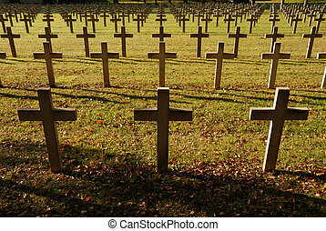 Crosses at cemetery - Crosses at French soldiers cemetery in...