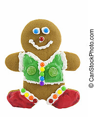 Gingerbread Man - Decorated gingerbread man, isolated on a...