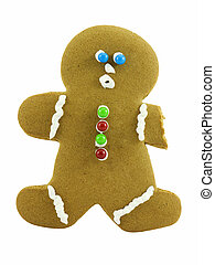 Gingerbread Man - Gingerbread man missing and arm, isolated...