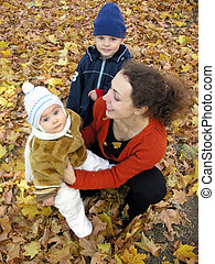 mother with children autumn