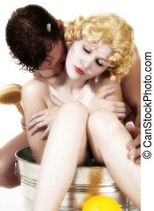 Bathing Couple - Retro style portrait of couple bathing in...