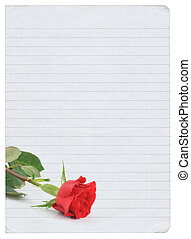 blank love letter isolated on pure white background, photo...