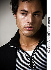Attractive young man - Head of a handsome young brunette man...