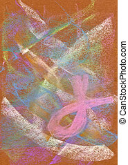 Pastel: Abstract Background with Pink Ribbon - Handmade...