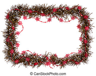 christmas frame with red stars isolated on white