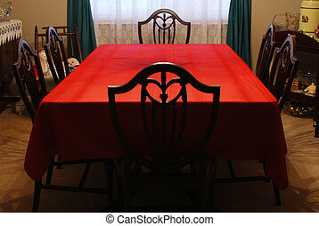 Red Tablecloth - Vintage dining room set with red tablecloth...