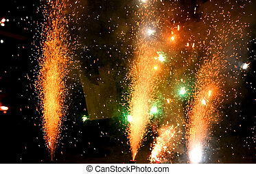 Crackers - colorful fire works sparkle with black background