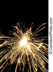 Fire Works - Golden fire works sparkle with black background
