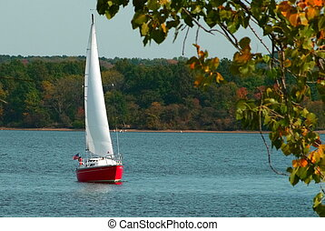 Sailboat-155 - Sailboat on the lake in the fall
