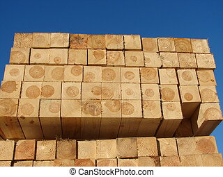 Stacked Wood - wooden timbers on a pallet