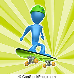 Skateboarding - Computer generated image - Skateboarding...