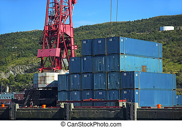 Shipping containers - Blue shipping containers beside red...