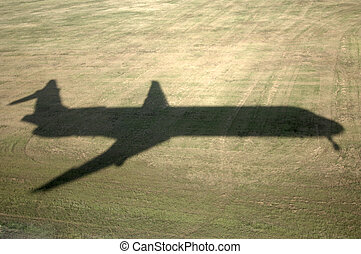 Jet shadow landing md-88 - Real flight shadow of a...