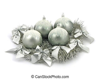 Silver bulbs with ribbon on white background