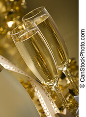 champagne - two glasses of champagne for christmas close up