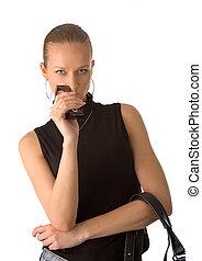 woman with handba