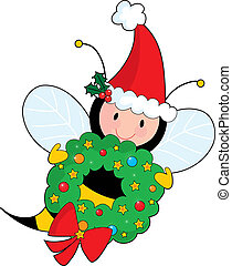 Bee Christmas - A bee holding a Christmas wreath and wearing...