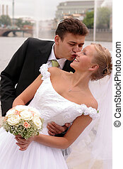 Wedding Couple in Love Kissing