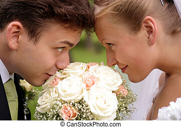 Bride and Groom Romance - A newly married bride and groom...