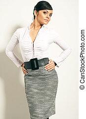 Atractive Brunet Businesswoman standing