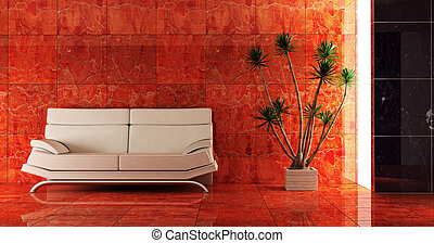 couch into the red interior - 3d interior in red colour with...