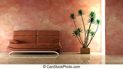 couch into the pink interior