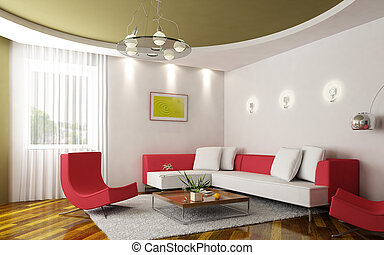 modern sitting room - 3d rendering of the modern sitting...