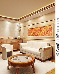 Lounge room interior - 3d rendering of the lounge room in...