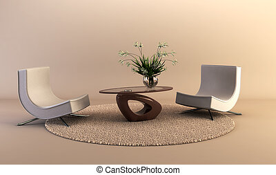 modern style lounge room - 3D rendering of the modern...