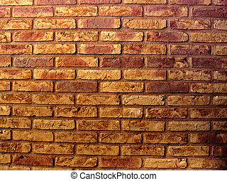 Brick wall - Profile of a wall with red and yellow bricks