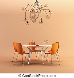 design of the dining room - 3d rendering of modern dining...