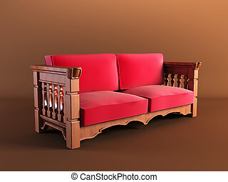 classic couch - 3d rendering 0f the red classic couch