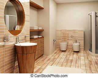 bathroom interior - 3d rendering of the modern bathroom...
