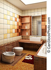 tiled design of the bathroom - 3d rendering of the modern...