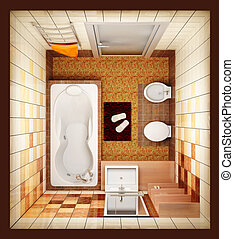 top view of the bathroom - 3d rendering of the modern...