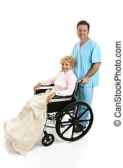 Disabled Senior and Nurse Profile - Side view of a disabled...